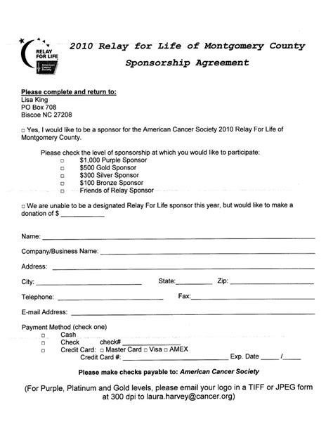 sponsorship agreement sponsorship agreement