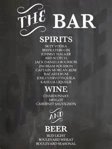printable wedding reception chalkboard bar menu bar menu