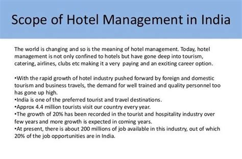 Mba After Hotel Management Scope what is the best career option after completing hotel
