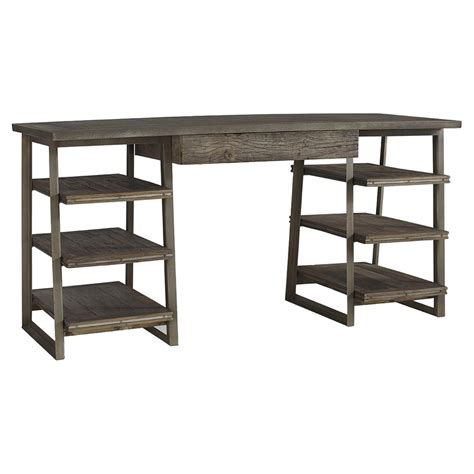 hill rustic industrial zinc elm wood desk kathy kuo home