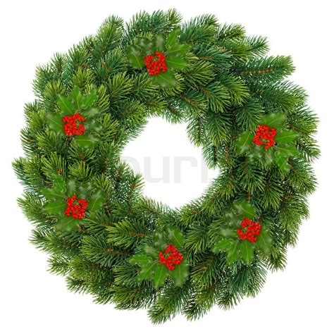 traditional green christmas wreath with holly berry