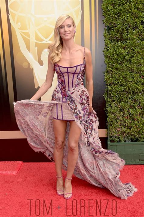 Catwalk To Carpet Emmy Awards by Heidi Klum In Atelier Versace At The 2015 Creative Arts