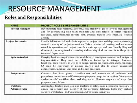 project management roles and responsibilities template and development management system