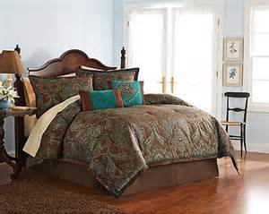 4 pc teal brown turquoise blue jacquard paisley