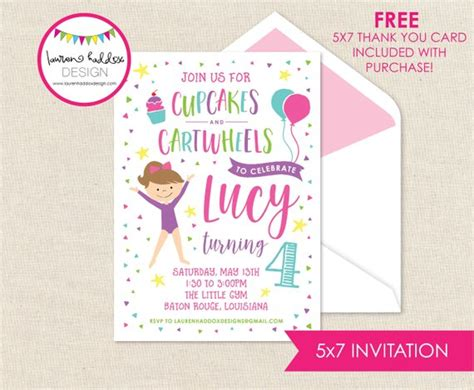 Gymnastics Birthday Invitation Gymnastics Invitation Etsy Gymnastics Birthday Invitation Templates