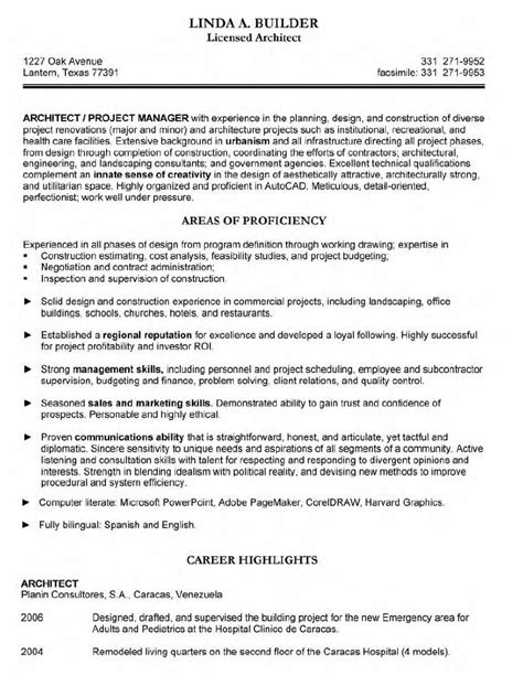 architect resume resume cv template exles