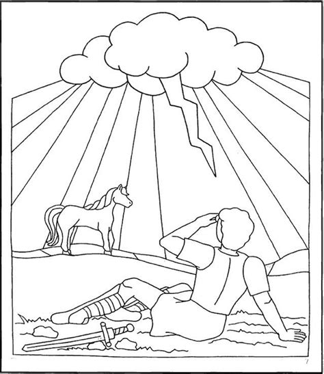 Coloring Page Acts 9 by Saul Paul On The Road To Damascus Acts 9 Coloring