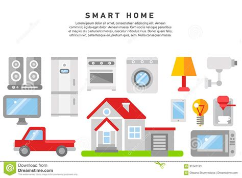 home automation and security for mobile devices smart home iot of thing stock vector