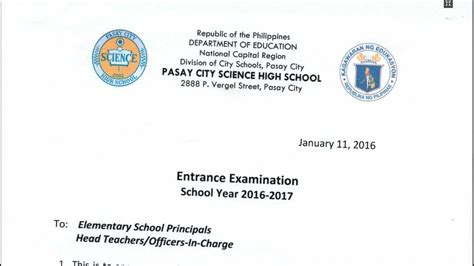 Endorsement Letter Deped Pasay City Science High School Entrance Examination