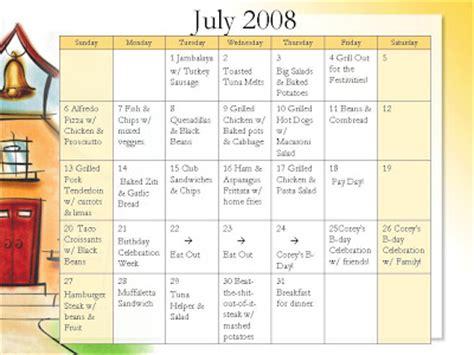 Dinner Calendar Monthly Dinner Menu July