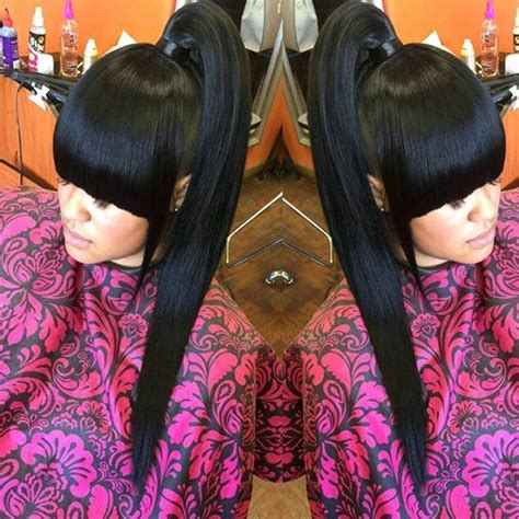 how to do a weave ponytail with bangs pin by mizhani blanco on bangs with ponytail weave