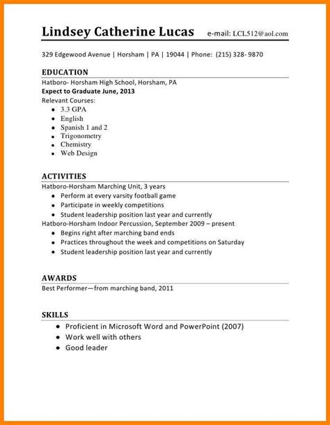 updating resume after high schol 6 resume for high school students points of