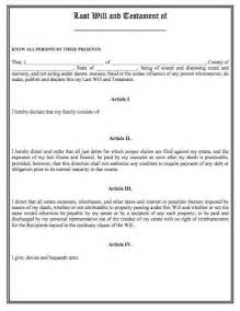 last will template printable sle last will and testament template form
