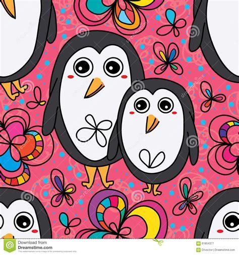 cute pattern drawings penguin cute flower drawing seamless pattern stock vector