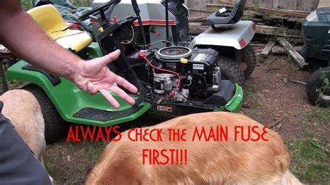 troubleshoot  diagnose  john deere riding lawnmower  wont start youtube