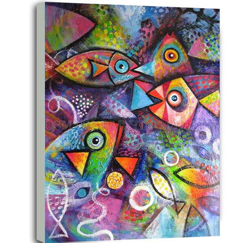 Paintings Handmade - top artist handmade high quality rich colors animal fish