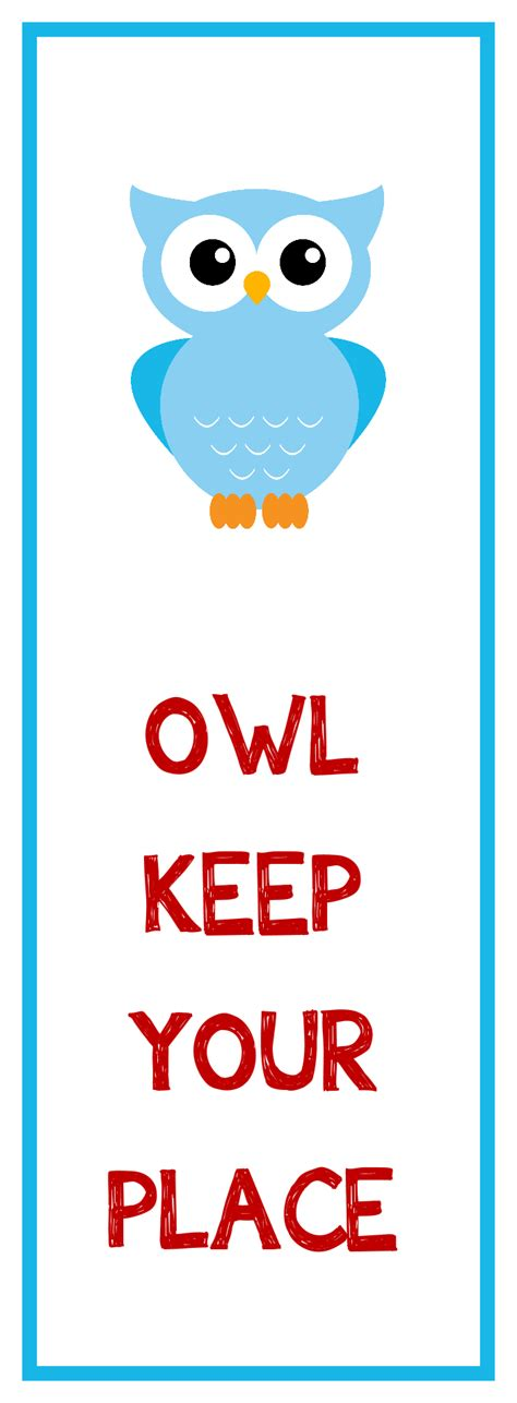 Kids Owl Craft - owl bookmark printable