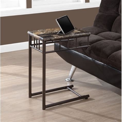 Snack Tables by Metal Snack Table In Cappuccino Marble And Bronze I 3043