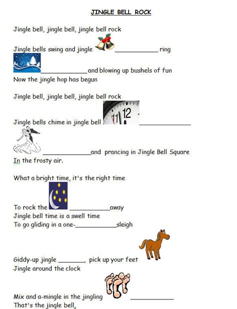 testo rock song worksheet jingle bell rock with