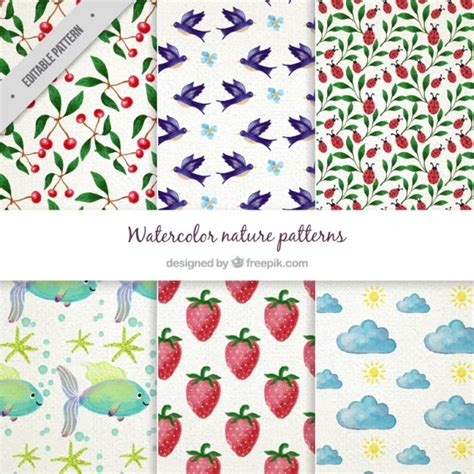 nature pattern vector free watercolor nature pattern collection vector free download