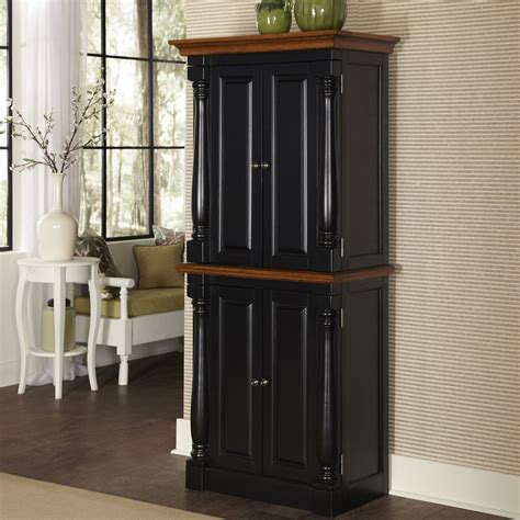 black kitchen storage cabinet home styles monarch black oak kitchen pantry at hayneedle