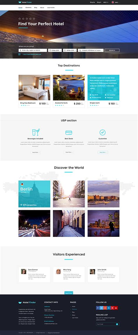 Hotel Finder Online Booking Html Website Template On Behance Booking Website Template Free