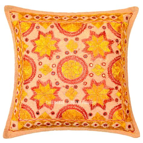 Pillow Handmade - yellow multi handmade needlepoint mirrored decorative