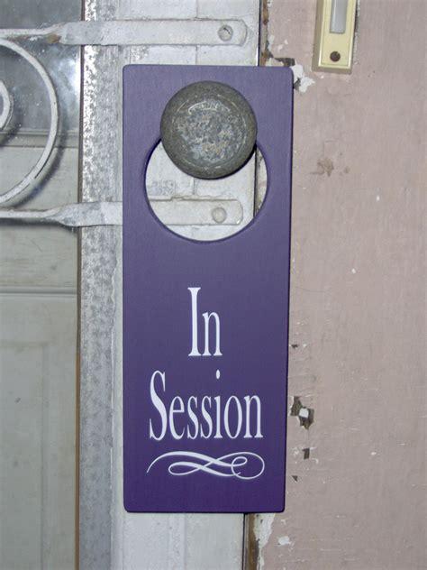 Door Knob Signs by In Session Wood Vinyl Sign Door Knob Hanger By Heartfeltgiver