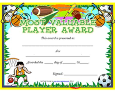 player of the day certificate template free printable mvp most valuable player awards
