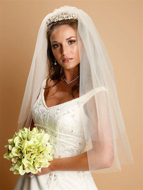 Layered Wedding Veil by Two Layer Bridal Veil Ivory