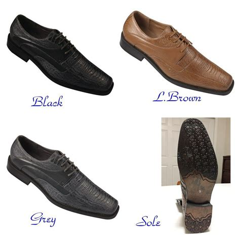 mens fashion oxford faux embossed leather dress shoes gray black l brown 5748 ebay