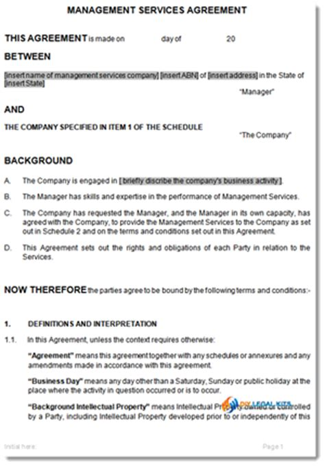 Management Services Agreement Template Management Fee Agreement Template