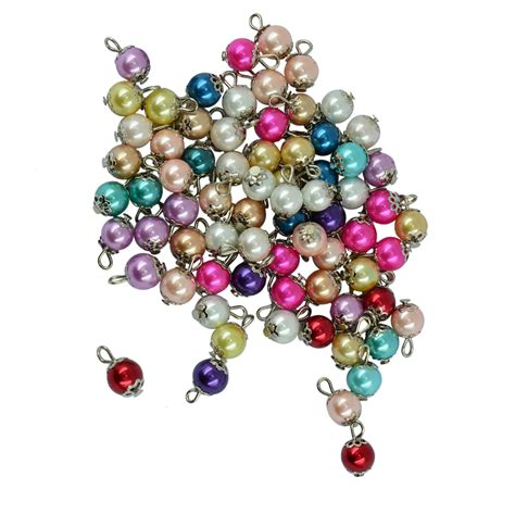 50 pieces handmade mixed color glass pearl flower cap charms pendant findings