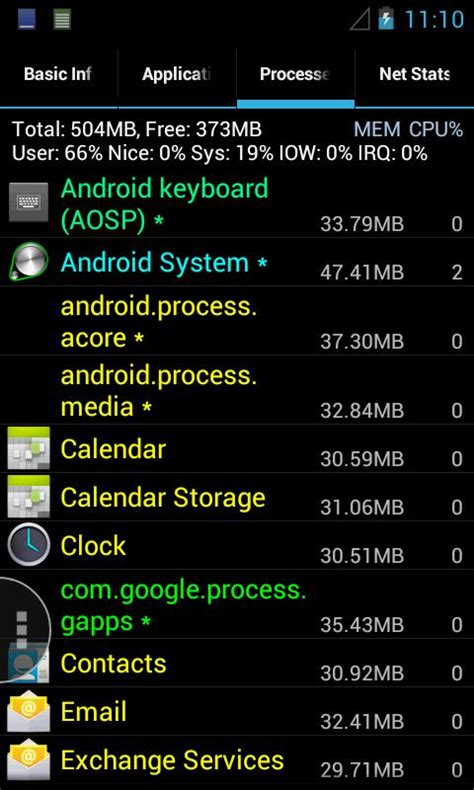 android system memory free system info pro free system info