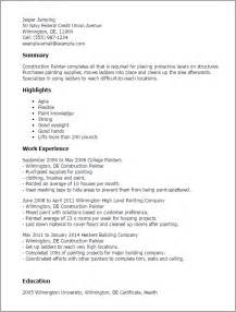 Car Painter Sle Resume by Professional Construction Painter Templates To Showcase Your Talent Myperfectresume