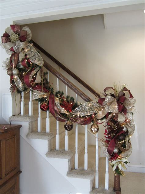 how to decorate banister with garland christmas stairway garland post swag shipping included