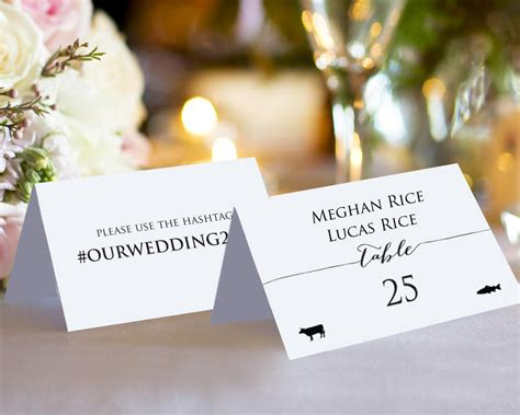 template meal place card hashtag place cards with meal icons 183 wedding templates