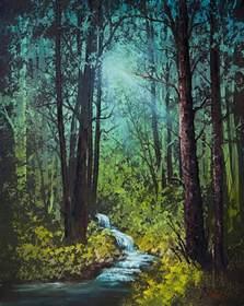 Waterfall Duvet Cover Deep Woods Stream Painting By C Steele