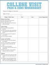 college visit checklist worksheet familyeducation