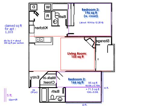 how to find sqft of a room exle of square footage 2 bedroom apartment