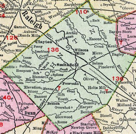 Johnston County Records Johnston County Carolina 1911 Map Rand Mcnally Smithfield Selma Benson