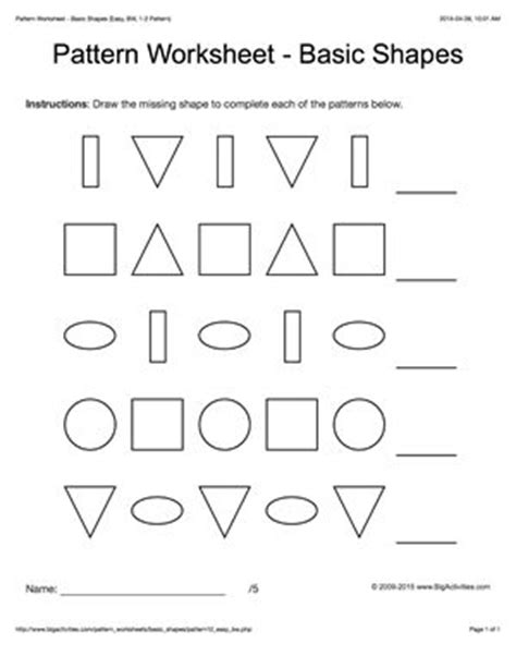 pattern practice in language teaching shapes space and patterns worksheets for grade 4