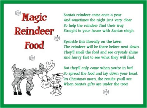 magic reindeer food poem template printable reindeer food poem