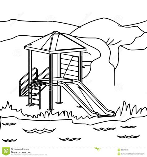 Playground Outline Coloring Coloring Pages Playground Template