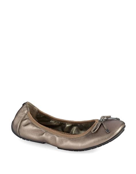 shoes me flats me halle metallic leather ballet flats in metallic lyst