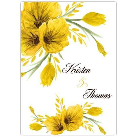 Wedding Invitations Yellow Paper by Yellow Floral Swag Wedding Invitations Paperstyle