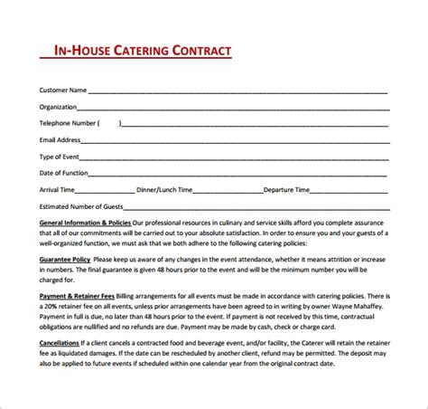 sample catering contract templates   word apple pages google docs