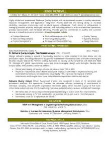 exle software quality analyst resume sle