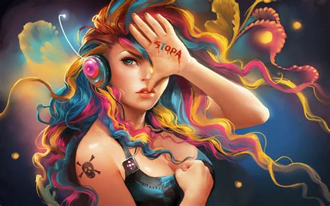 menina fantasia colorida cabelo ouvir m 250 sica pap 233 is de parede 1920x1200 pap 233 is de parede