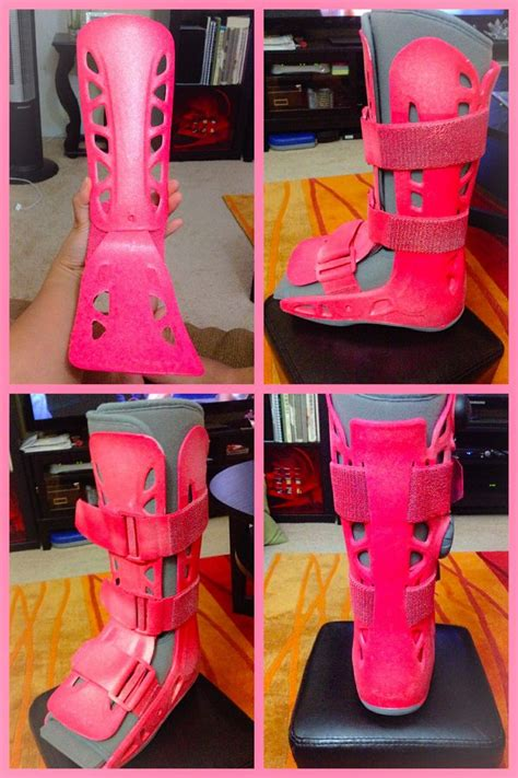 pink walking boots cast spray paint it with pink glitter